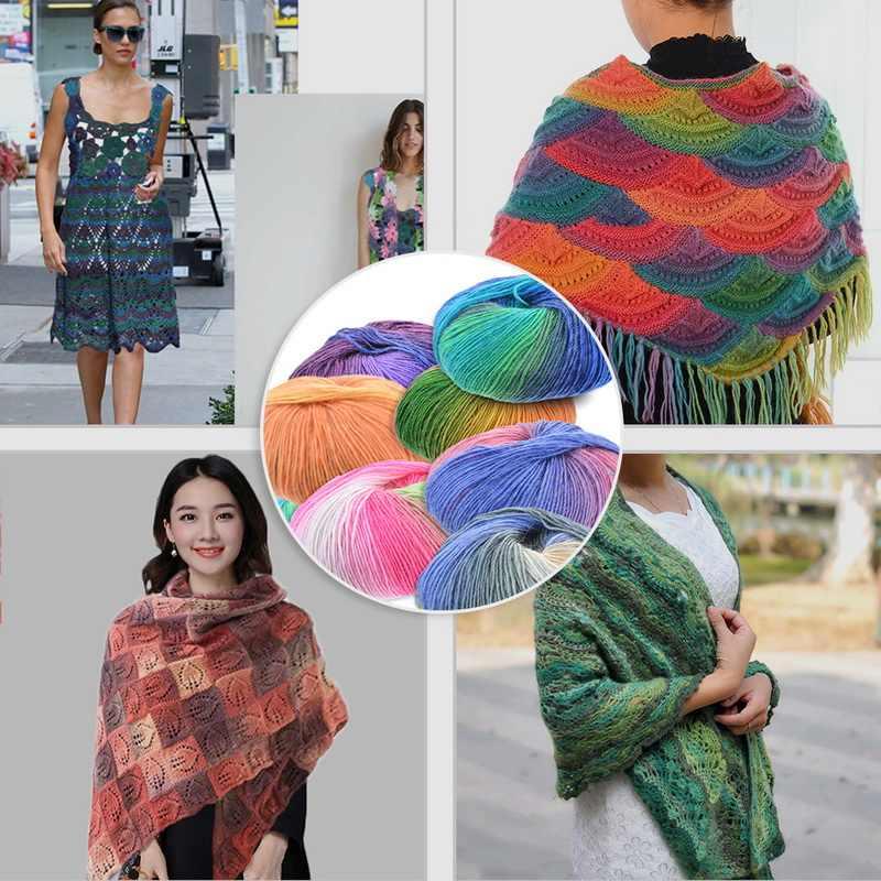 180M DIY hilo fino Crochet ganchos para tejer a mano suave hilo de lana para tejer agujas de lana MANO