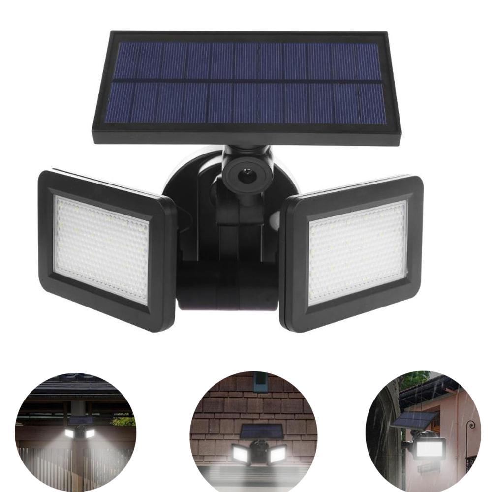 48LED Dual Head Solar Light Radar Sensor Spotlight Outdoors Solar Garden Light Super Bright Yard Flood LED Lamp Waterproof
