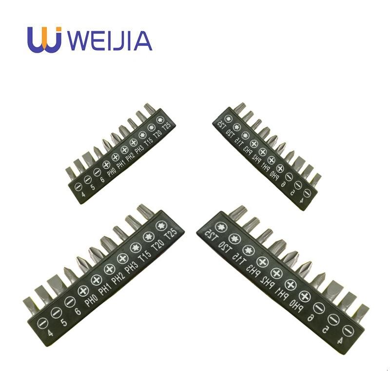 10 Pcs Set 6.35mm 1/4 Inch Hex Torx Slotted Phillips Screwdriver Bits For Screwdriver Set Steel Metal Screw