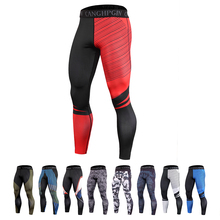 Kompresyjne obcisłe legginsy męskie Fitness sportowe męskie legginsy do biegania Jogging szybkie suche spodnie treningowe spodnie treningowe ubranie sportowe tanie tanio LENTHIMEN POLIESTER CN (pochodzenie) Dobrze pasuje do rozmiaru wybierz swój normalny rozmiar Drukuj compression pants