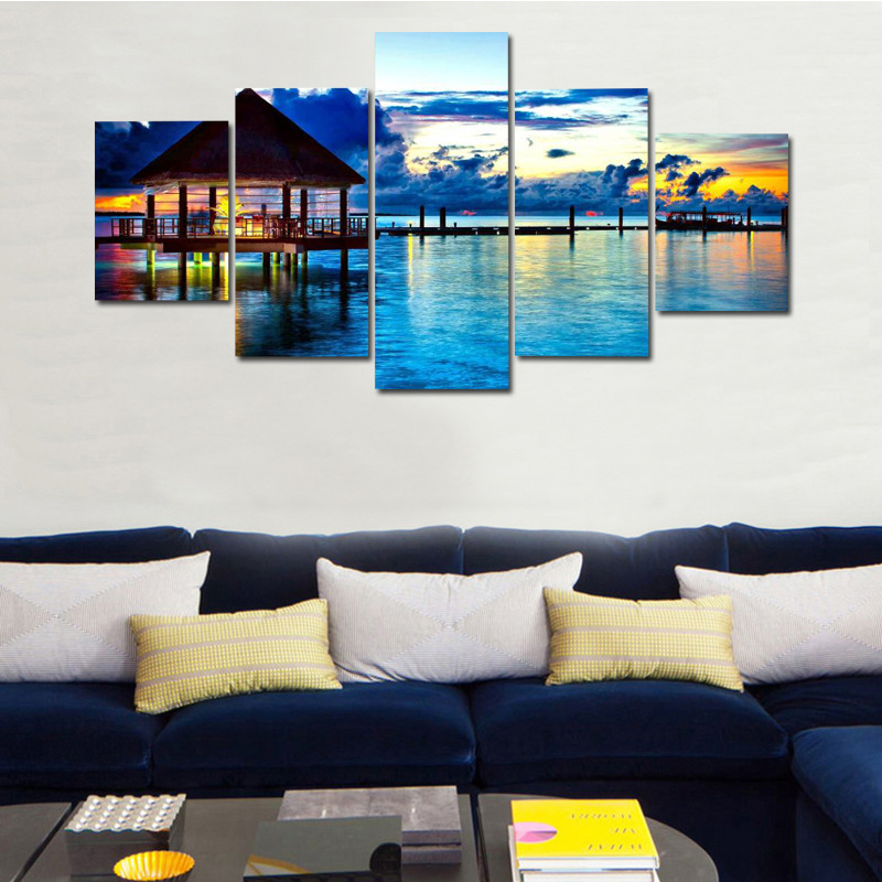 5pcs Diamond Painting Full Round Drill Sunset Seaside Landscape 5d DIY Diamond Embroidery Picture Home Frescoes Decor Gift Craft