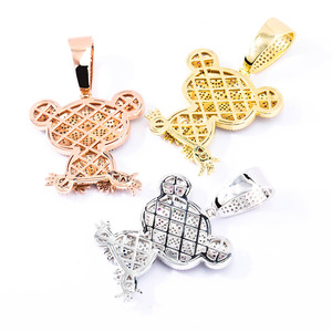Image 2 - TOPGRILLZ Hip Hop Iced Out Frog Pendant Necklaces For Men Women Charm Chain Jewelry Gifts Full Micro Pave Zircon Necklaces