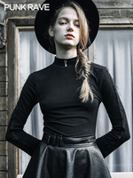 PUNKRAVE Gothic Slim Long Sleeve T Shirt Women's Heart High Collar Top Autumn Embroidered Sweater