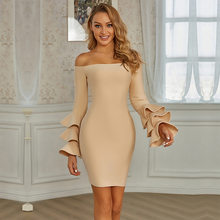Slash Neck Flare Long Sleeve Elegant Beige Dress Women Streetwear Office French Wear Above Knee