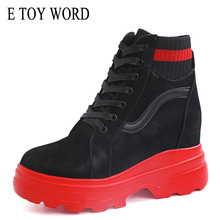 E TOY WORD Women shoes winter 2019 new increase in Martin boots women's thick-soled short boots high-heeled wedges cotton boots winter 2017 new martin boots slope with boots women s shoes loose cake thick cotton boots increased high cotton shoes
