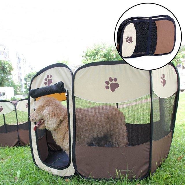 Pet Cage Portable Pet Tent Folding Dog House Cage Cat Tent Playpen Puppy Kennel Easy Operation Octagonal Fence Large Dogs House 4
