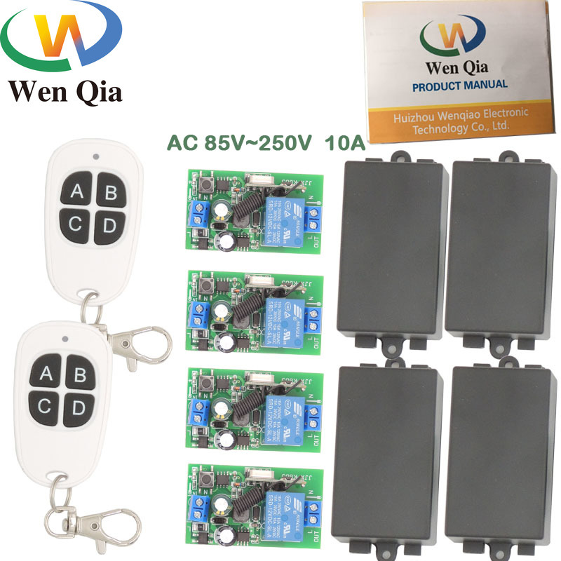 433MHz Universal Wireless Remote AC 110V 220V <font><b>4</b></font> gangs 1CH <font><b>4</b></font> gangs rf Relay and Transmitter Remote Control Light/Home appliance image