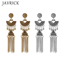 Antique Ethnic Gypsy Tribal Indian Oxidized Gold Tassel Jhumka Dangle Earrings