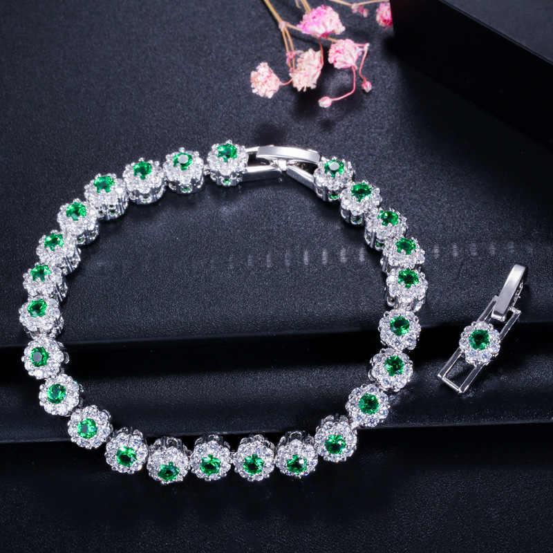 · ウォン雨ヴィンテージ 100% 925 スターリングシルバーサファイアエメラルド宝石誕生石バングルチャーム花のブレスレットジュエリー卸売
