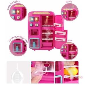 Image 2 - 어린이 척 놀이 장난감 시뮬레이션 더블 냉장고 자동 판매기 완구 어린이 주방 음식 장난감 미니 놀이 집 소녀 완구