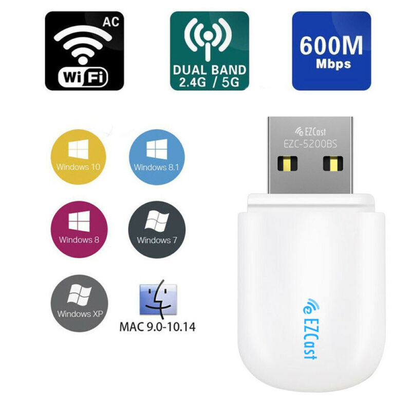 Wireless USB Network Adapters WiFi 5G/2.5G Dual Band AC Mini Dongle 600Mbps