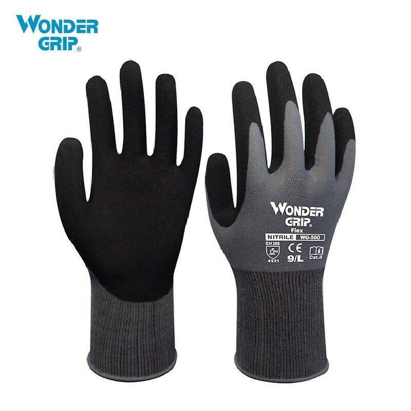 1 Pair Wonder Grip Garden Safety Gloves Nylon Nitrile Sandy Coated Work Gloves