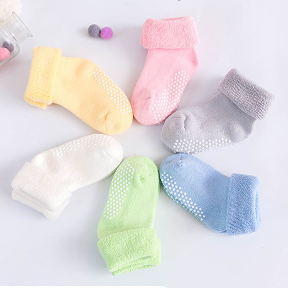 1-3 Year Old Baby Socks Thick Solid Color Socks for Toddler Kids Antiskid Socks