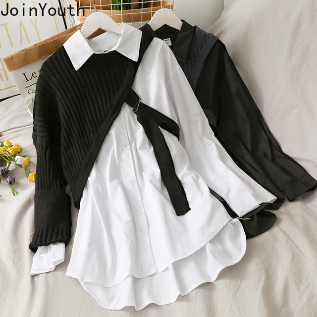 Joinyouth Irregular Shirts Blusas Mujer De Moda 2020 Patchwork Knitwear Tops Korean Blouses Two Piece Sets Blouse Female Clothes 1