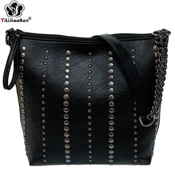 fashion rivet casual shoulder bag messenger bag retro simple women bag handbag ladies flap motorcycle bag 18b9 Fashion Ladies Large Chain Handbags New Elegant Shoulder Bag Women Luxury Rivet Handbag Leather Ladies Crossbody Messenger Bag