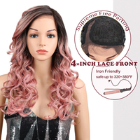 Magic Hair Synthetic L Lace Front Wigs 22Inch Pink Red Color Glueless Heat Resistant Fiber Hair 150% Density Hand Tied Lace Part