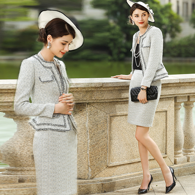 Tweed Dress Suits For Women Luxury Brand Woolen Wool Slim Blazer Jacket Elegant Autumn Winter Two Piecet Set Office Lady Clothes