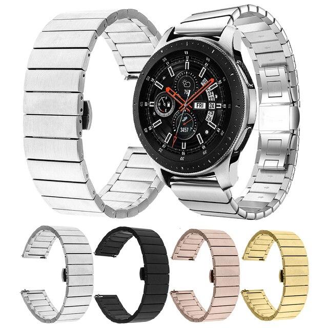 Сменный Браслет из нержавеющей стали 20 мм 22 мм для samsung Galaxy Watch 46 мм Active gear S3 Classic Amazfit 2S HUAWEI