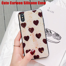 Cute Retro Jewelry Love Heart Shiny Case For iPhone X Xr Xs Max 6 7 8 Plus Classy Gel Skin Cover Silicone Cases