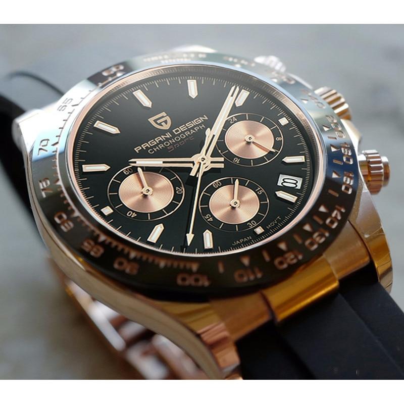 PAGANI Дизайн Новые Daytona Homage мужские часы с резиновым ремешком VK63 кварцевый часовой Автоматический хронограф водонепроницаемый 100 м