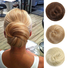 Wig Synthetic-Hair-Extensions Donut-Bun-Roll Women for DIANQI Available-In-A-Variety-Of-Colors