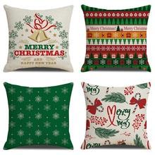 цена на Christmas  Linen Pillowcase Cushion Cover Seat  45*45cm Sofa Home House Decorative Pillows Cover SXYM21