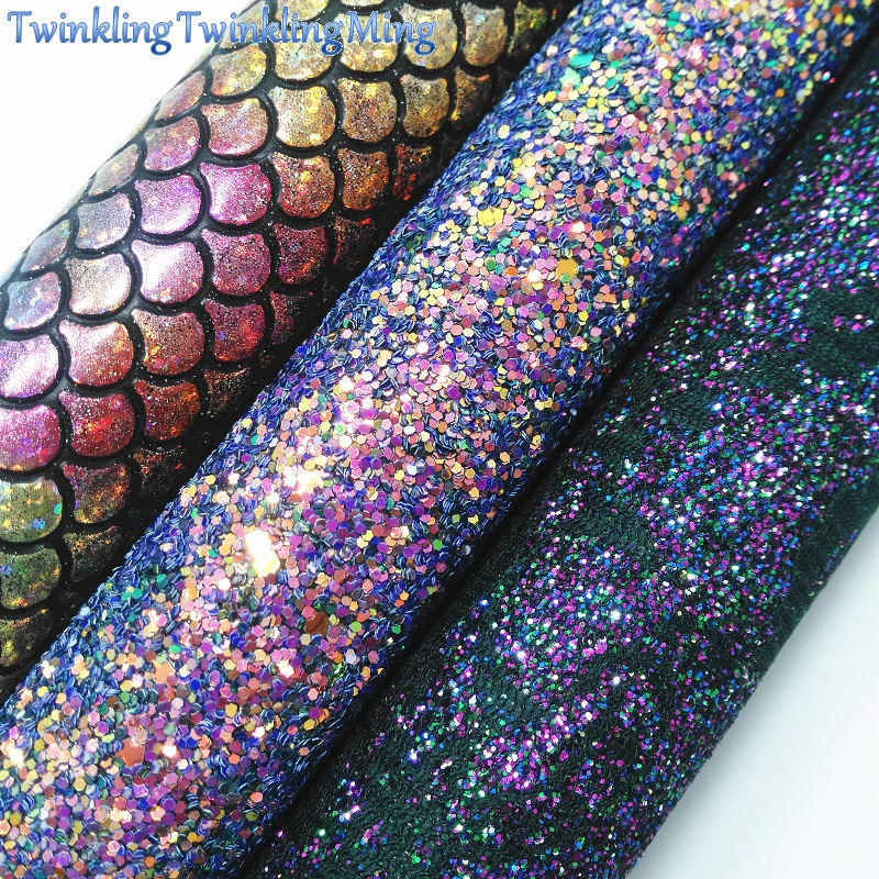 PURPLE Glitter Fabric, Mermaid Faux Leather Fabric, Lace Glitter Synthetic Leather Sheets For Bow A4 8