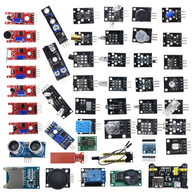 AEAK For arduino 45 in 1 Sensors Modules Starter Kit better than 37in1 sensor kit 37 in 1 Sensor Kit UNO R3 MEGA2560
