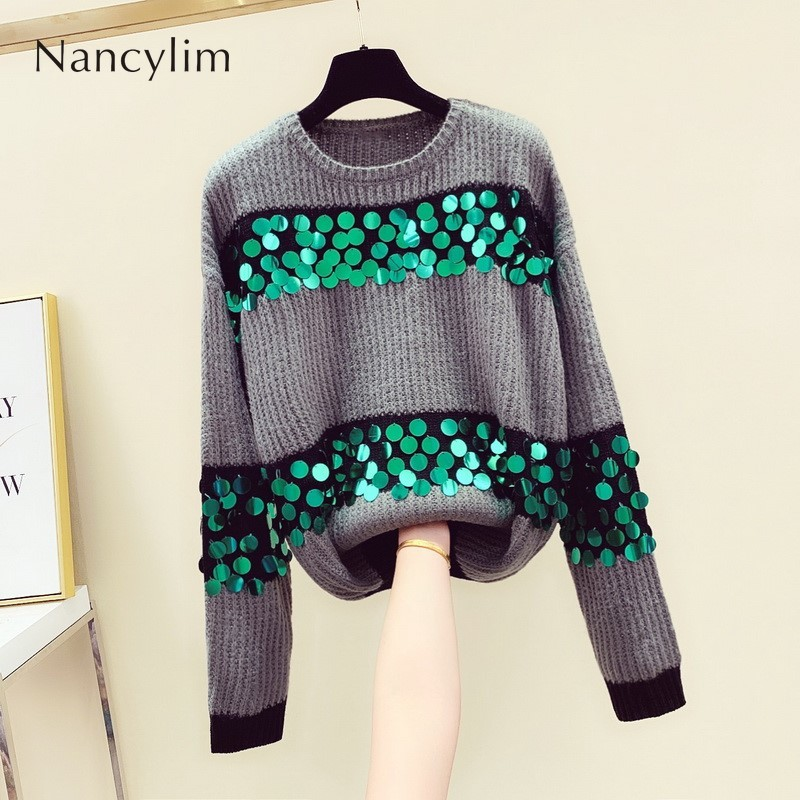 Loose Sweater Women's Autumn And Winter New Korean Long-sleeved Rainbow Sequin Sweater Sweaters Student Pullovers Mujer 2019