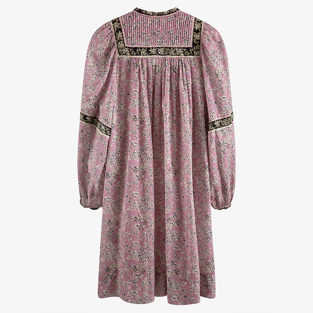 [EAM] Women Pattern Printed Pleated Vintage Dress New V-Neck Long Sleeve Loose Fit Fashion Tide Spring Summer 2021 7A038 3