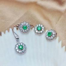 купить SHILOVEM 925 sterling silver Natural Emerald classic fine Jewelry  women wedding  wholesale new gift mtz3.53.598agml дешево
