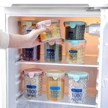 600-1500ml contenedor de preservación de alimentos granos de cereales gruesos botella de báscula olla fresca latas de almacenamiento de cocina caja de sellado tanque