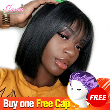 Buy 1 Free Cap Short Bob Wig Brazilian Human Hair Wigs With Bangs Free Part Cheap Straight Hair Wig Pixie Cut Bang Wigs