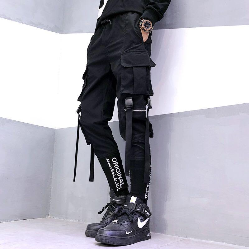 2020 new hip-hop jogger men's black harem overalls multi-pocket ribbon men's sports pants streetwear casual men's casual pants 4