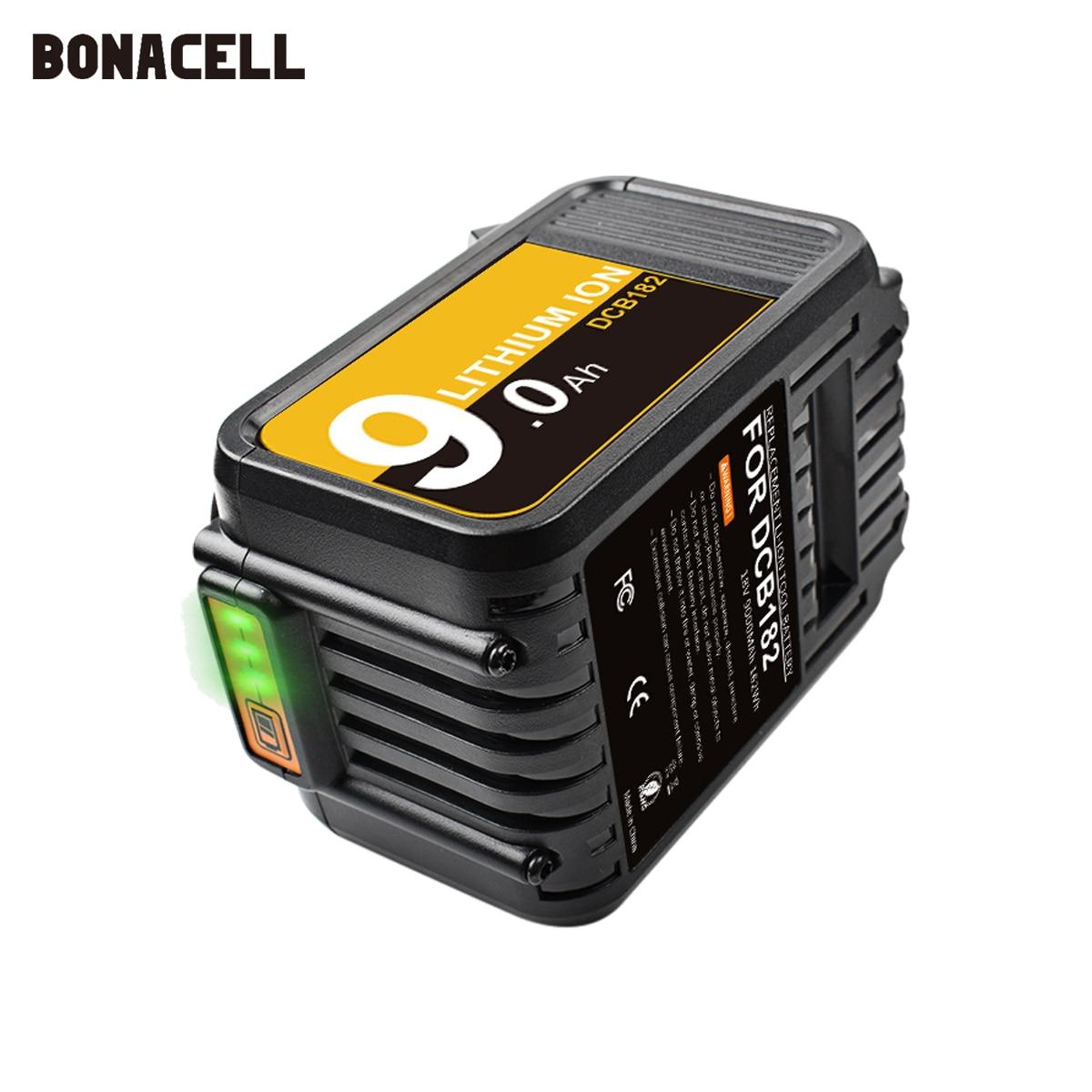 Сменная батарея Bonacell DCB184 18 в 9,0 Ач для литий-ионной батареи Dewalt DCB200 DCB180 DCB181 DCB182 DCB183 DCB185 18 в XR