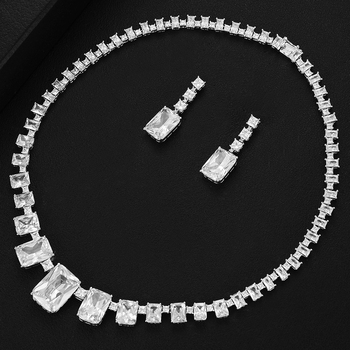 missvikki Famous Brand 2020 Charms Necklace Earrings Bridal Wedding Jewelry Sets For Women Girl Party Show Clear Cubic Zirconia