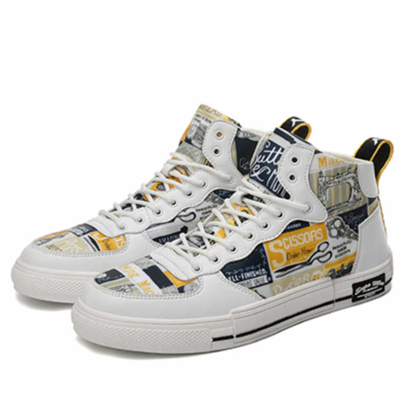 Erkekler moda rahat ayakkabılar Açık Rahat Beyaz Spor Ayakkabı 2019 Popüler Yüksek Top yürüyüş ayakkabısı