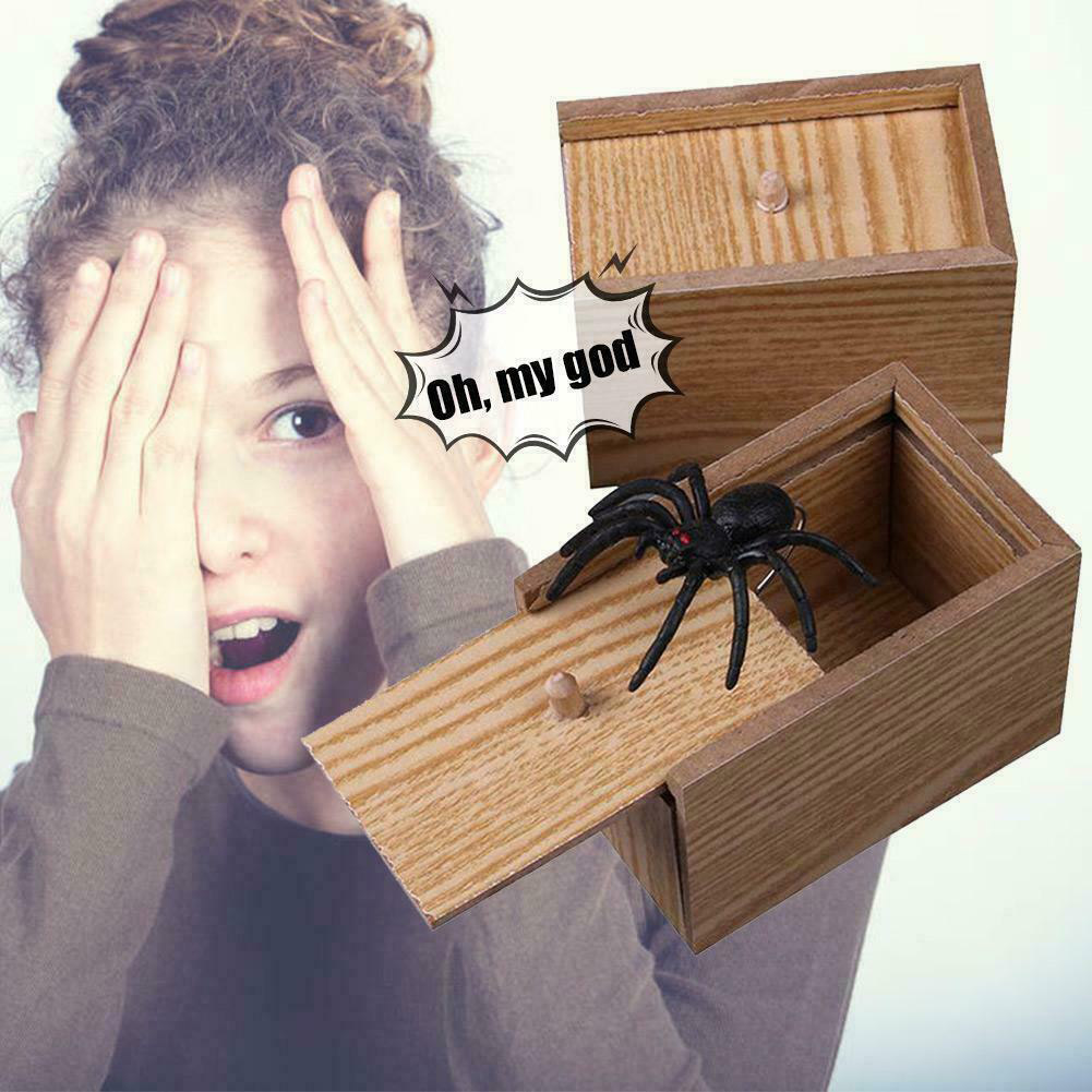 Gag Gift Tricky Toy Funny Prank Spider Wooden Scare Box Lifelike For Kids Adult New Design
