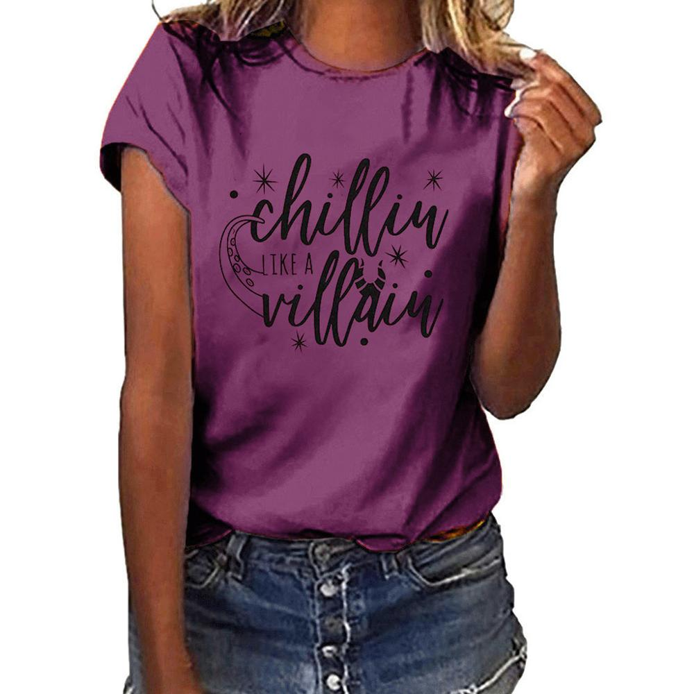 Chillin Like A Villain T-Shirt Children Kids Size Maleficent Short Sleeve Shirt