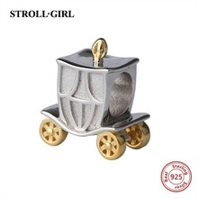 StrollGirl 925 silver Charms golden wheel pumpkin carriage beads fit original Pandora pendant bracelet jewelry for women gifts