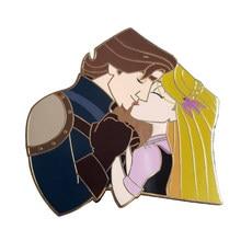 Pino duro do esmalte da princesa rapunzel e do príncipe flynn rider