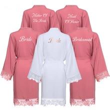 Bride Bridesmaid Robes Rayon Cotton Kimono Robes with Lace Robe Women Wedding Bridal Robe Party Gift Bathrobe Dusty Pink