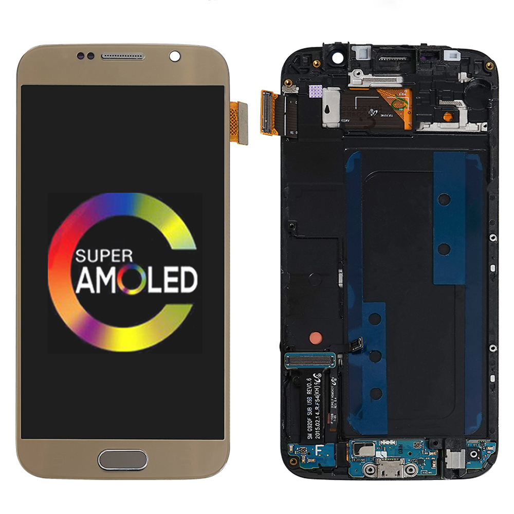 100% Super AMOLED 5.1 ''<font><b>LCD</b></font> Für <font><b>Samsung</b></font> Galaxy <font><b>S6</b></font> <font><b>LCD</b></font> Display Touchscreen Digitizer Montage Rahmen Für <font><b>Samsung</b></font> <font><b>S6</b></font> g920F Display image