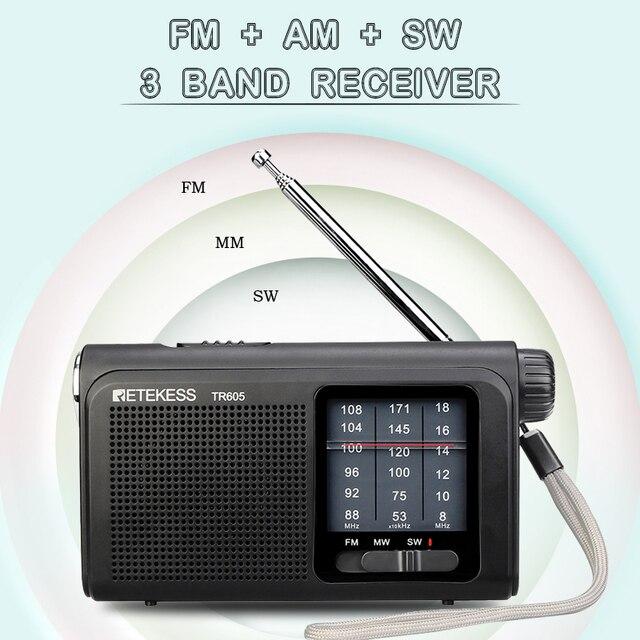 Портативный радиоприемник Retekess TR605 FM/MW/SW Фонарик