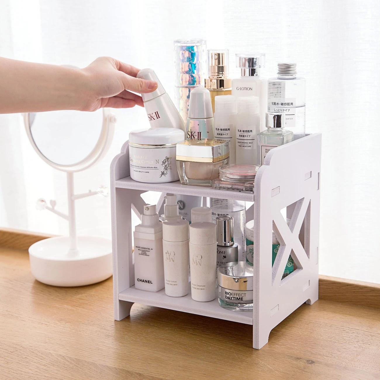 Wood Desktop Shelf Bathroom Storage Rack Shelves Makeup Organizer ...