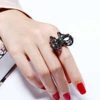 Moda Grande anel de dedo borboleta preta jóias aneis anillos bague anel feminino dropshipping atacado anéis Bonitos para as mulheres