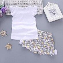 Летние Новый стиль Комплекты одежды из 2 предметов для девочек на палочке, футболка, Топы + короткие штаны; Комплект одежды для детей; Изыскан...