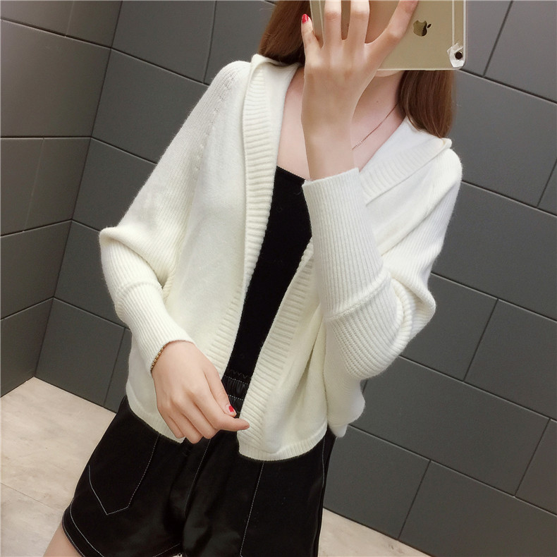 2019 Free send New style Korean loose and comfortable Autumn women Cardigan Sleeve of bat Hooded Sweater coat 147
