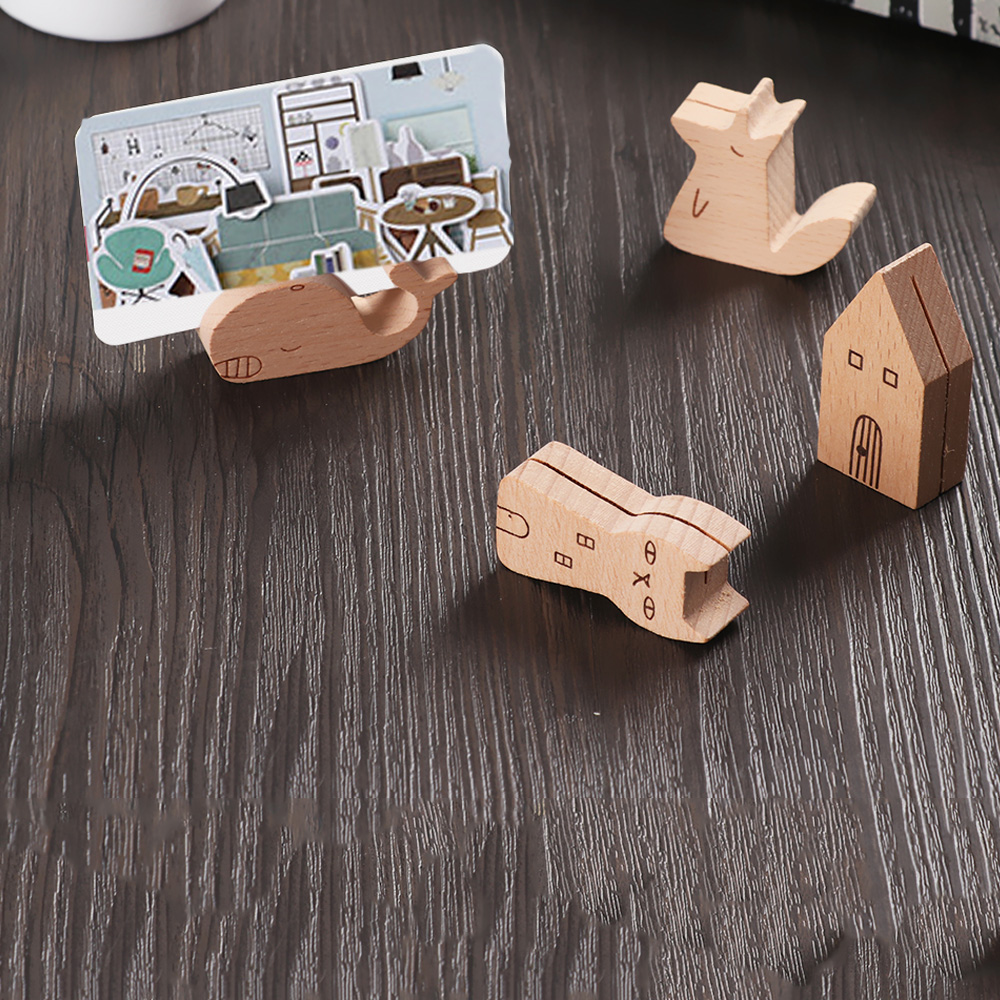 Wooden Fox/Cat/House/Whale Animals Photo Holder  Memo Clips Desktop Calendar Message Clamps Stand Display Board Photography Prop