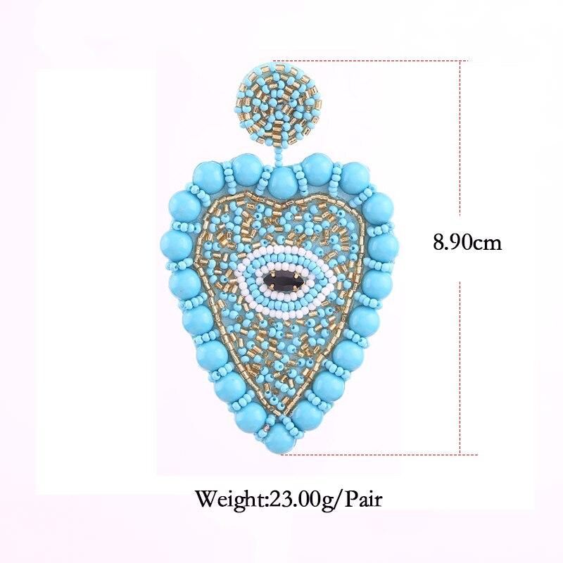2019 New Design Big heart Dangle Earrings for women statement earrings Lt Blue Size